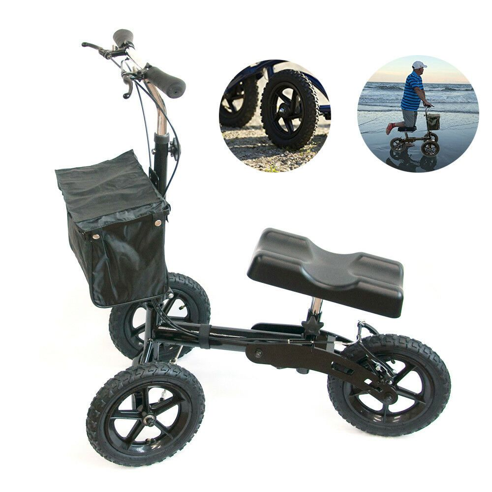 Best Knee Stroller Foldable Medical Steerable Knee Walker Aid Scooter Crutches