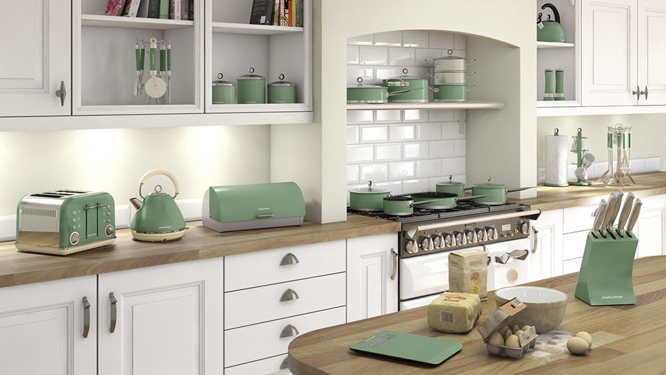 Country Style Kitchen With Mint Green Olive Accents