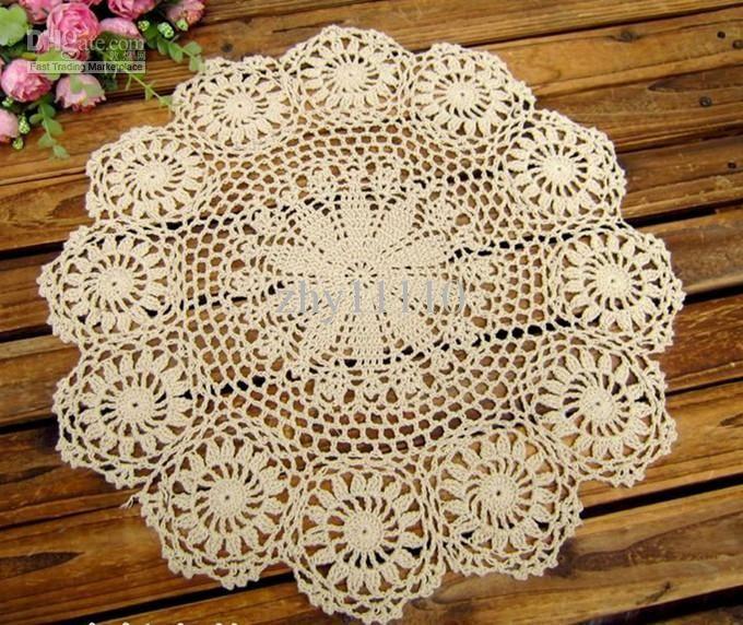 center of table_ Wholesale hand made Crochet table mat, cotton Ecru ...