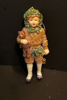 Bethany Lowe Girl Figurine with Teddy Bear and Bell Christmas Ornament NIP