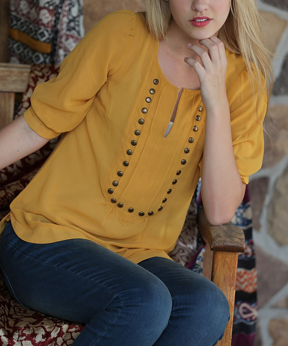 Fashion Beauty Zone: Mustard & Bronze Stud Notch Neck Top