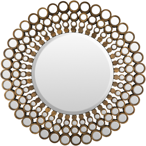 large wood round mirror with small round mirrors connected wood frame 465 x 465