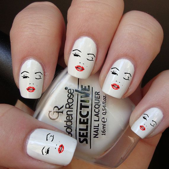 Marilyn Monroe Wink Nail Decals by NWDesignStudio on Etsy | Beauty ...