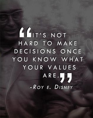 Our values and morals determine how we make our decisions!