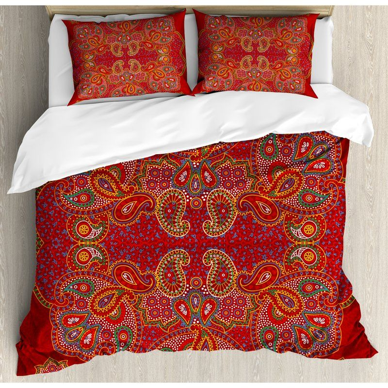Moroccan Quilted Bedspread /& Pillow Shams Set Persian Motif Bohemian Print