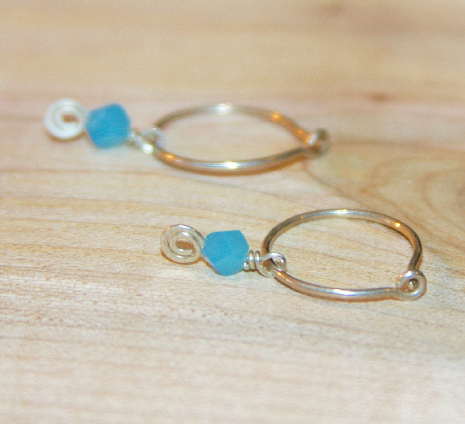 Small Blue Earrings Small Silver Earrings Small Hoop Earrings Small  Cartilage Hoop Earrings 14k Gold Filled Hoops Sterling Silver Hoops
