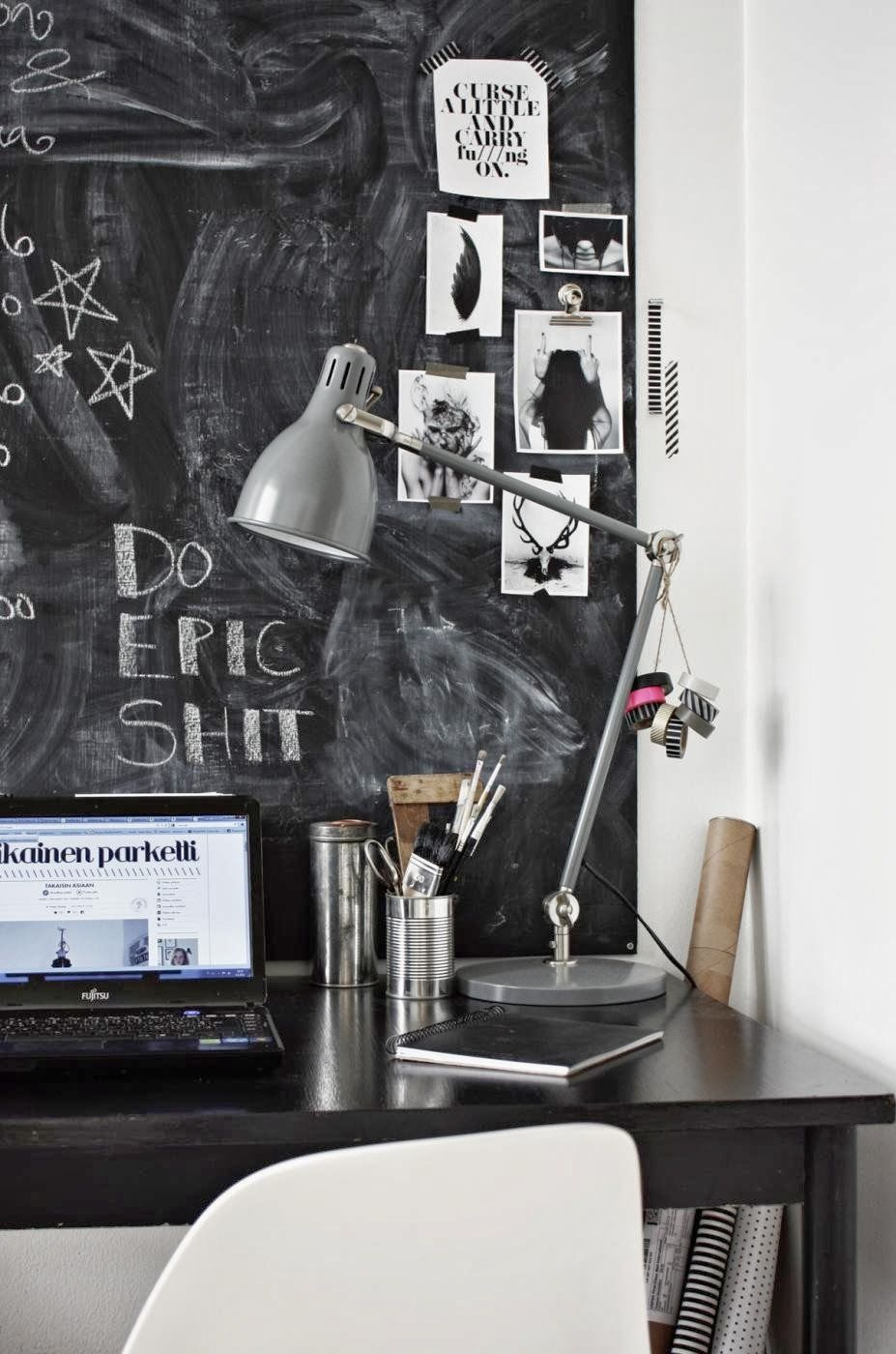 my scandinavian home: The black and white workspace of a Finnish blogger