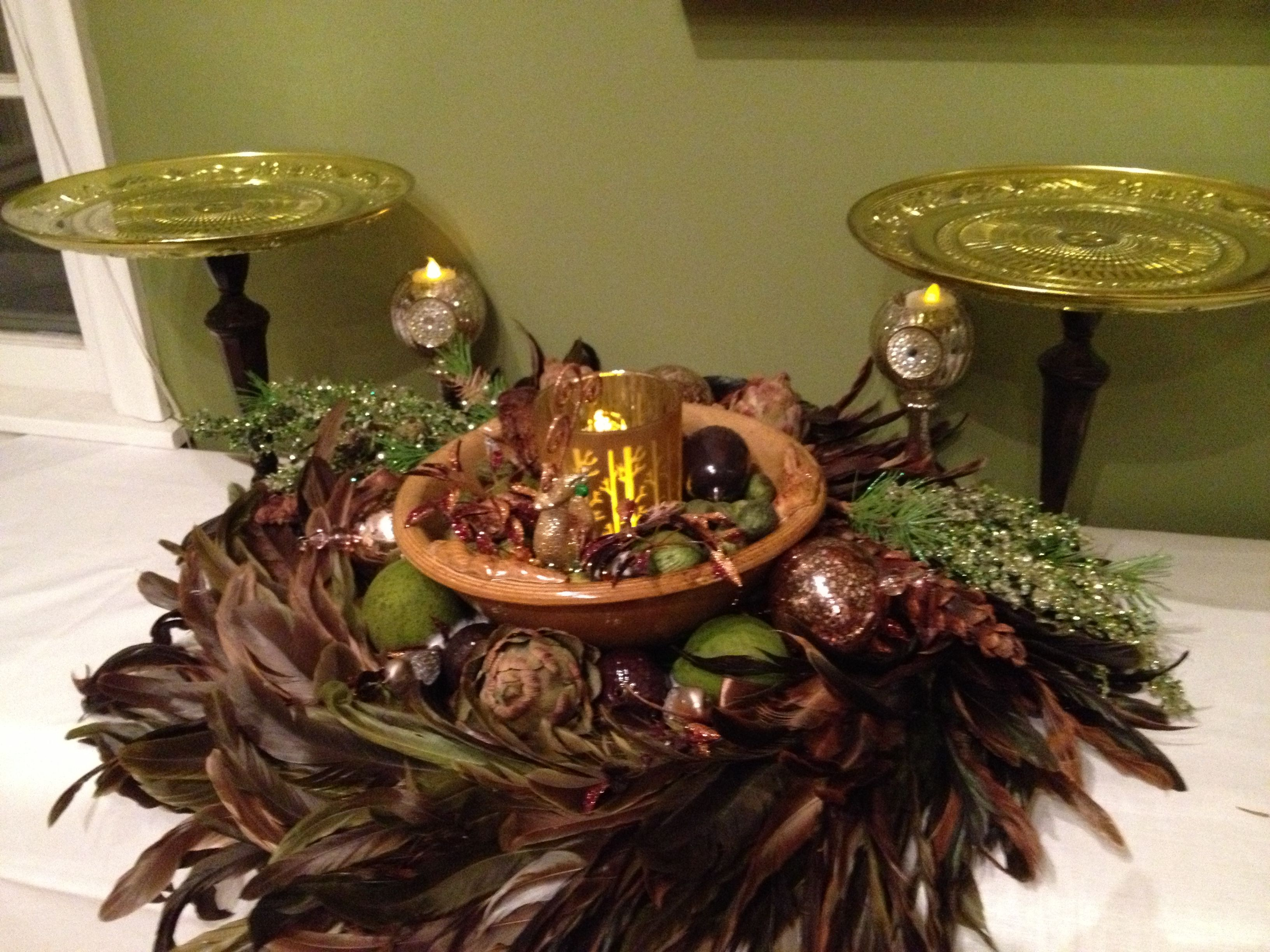 Here is feather display and two cakestands i made from plates and