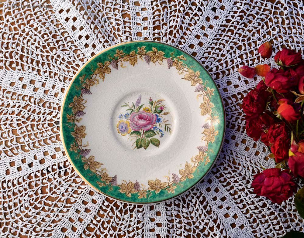 Vintage Bristol England Virginia Pattern Flowers And Grapes Design Small Oval Cake Side Plate Retro Classic English China Pretty Old China Small Designs Oval Plates Bristol England
