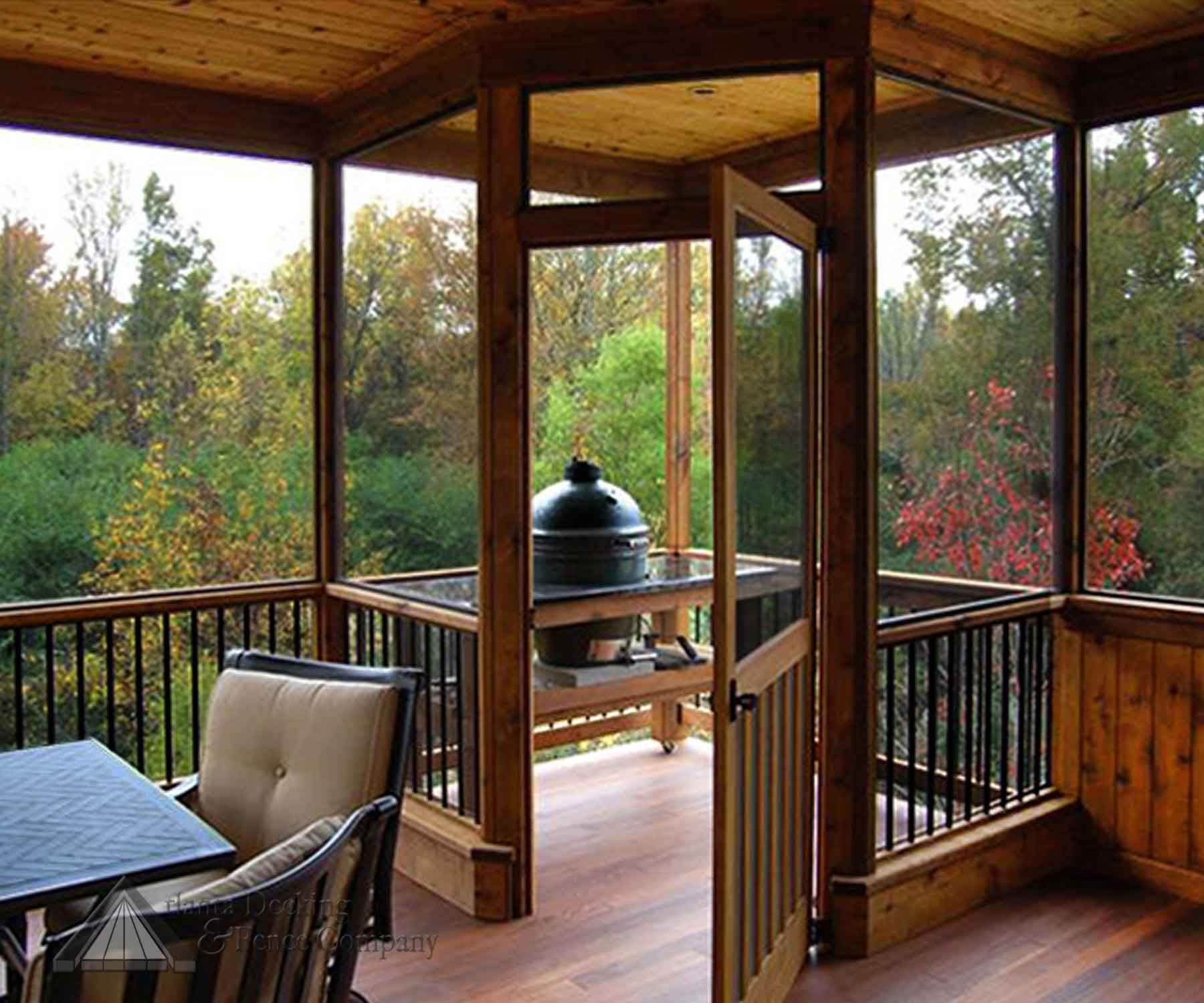 Wow what a beautiful screened in outdoor space with for Screened in porch ideas design
