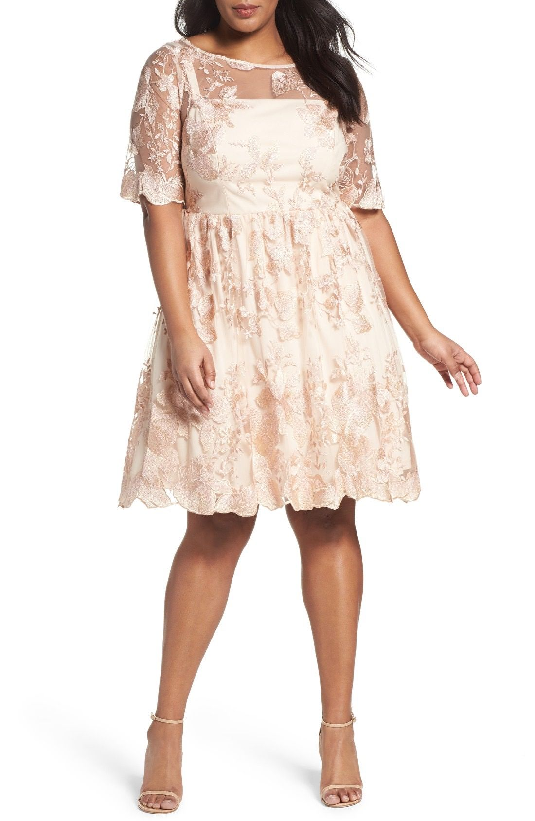 5c0907792315 Main Image - Adrianna Papell Embroidered Mesh Party Dress (Plus Size ...