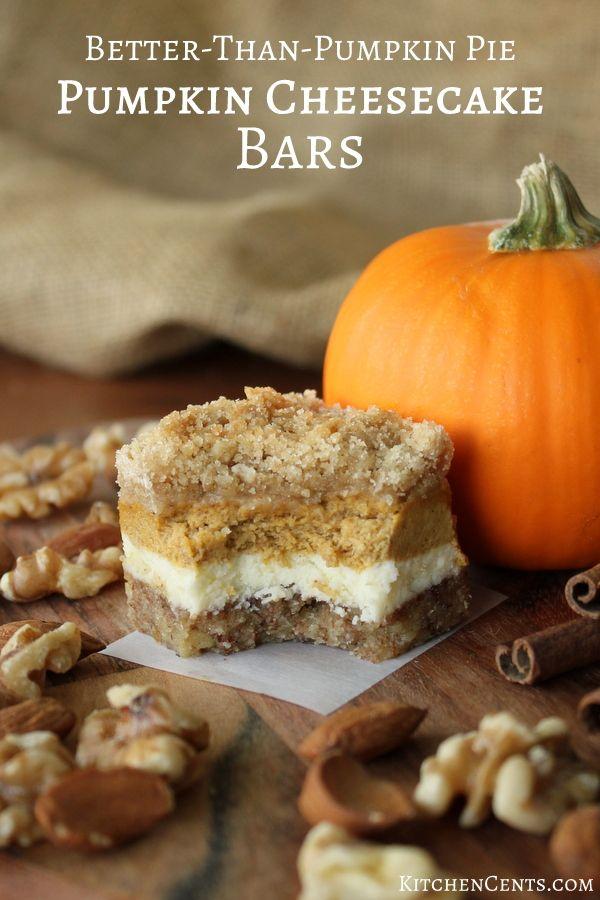 Pumpkin Cheesecake Bars with Walnut Crust and Streusel ...