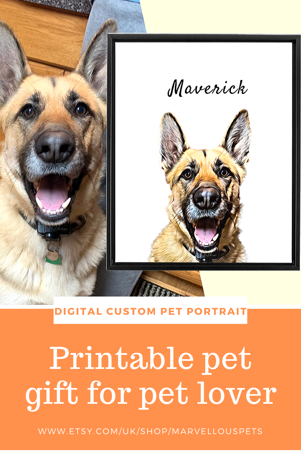 Printable custom printable pet illustration portrait for dog lover gift or fathers day gift.