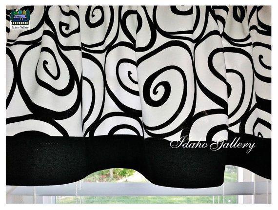 "NEW Black and White Ironworks Window Valance with 2"" black bottom trim #IdahoGallery"