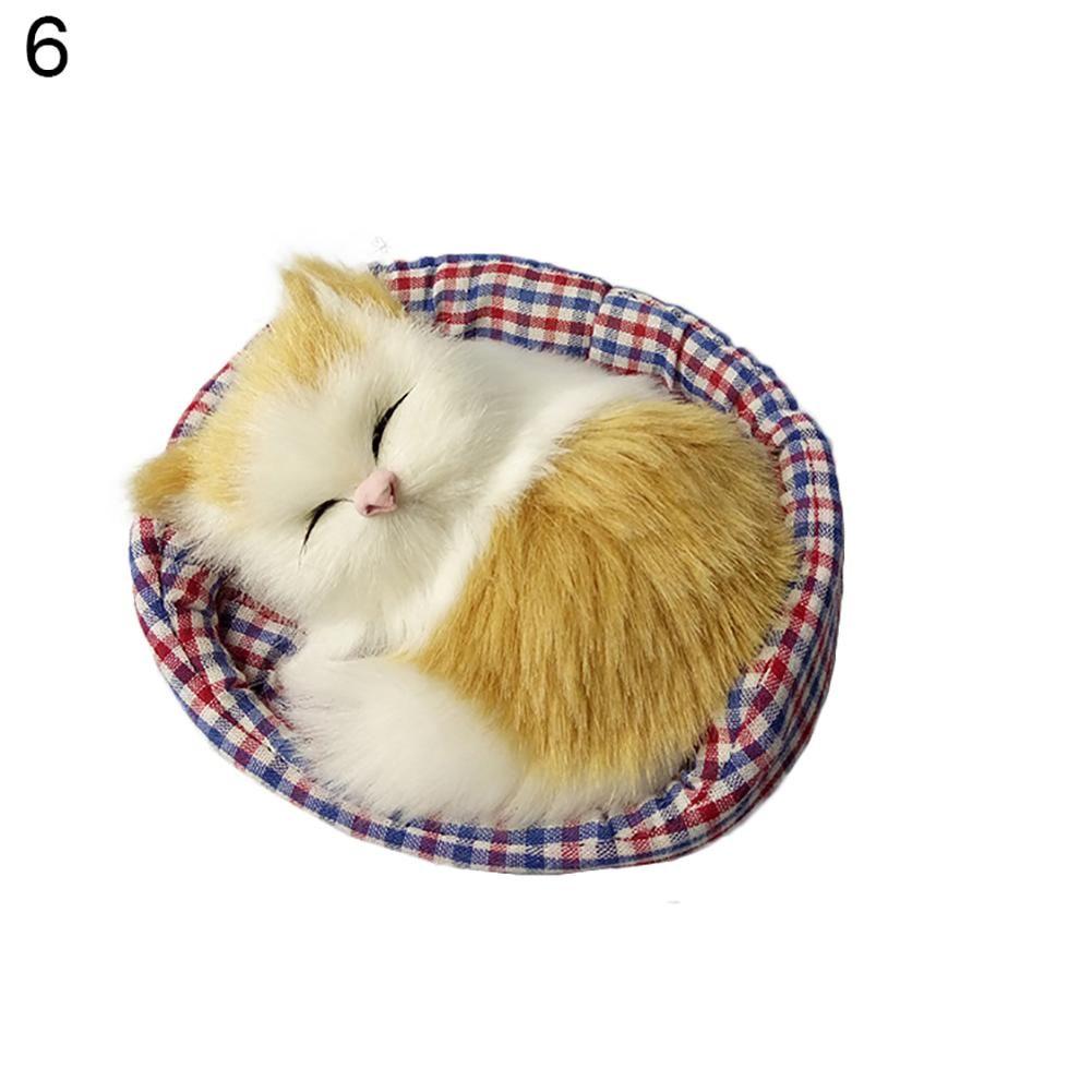Cute Simulation Sounding Sleeping Cat Plush Mat Toy with Nest Kid Children Gift - White