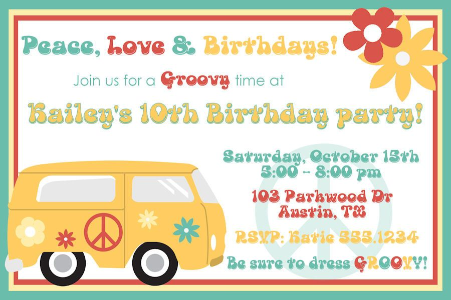 Personalized Digital Groovy 60s Birthday Party Invitation Design ...