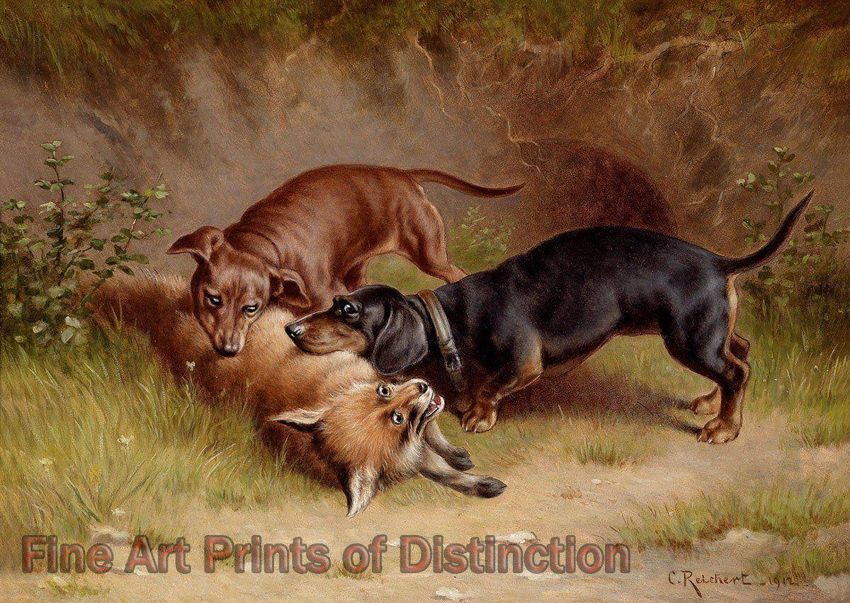 Reichert Carl Hunting Fine Art Canine Print In 2020 Cross