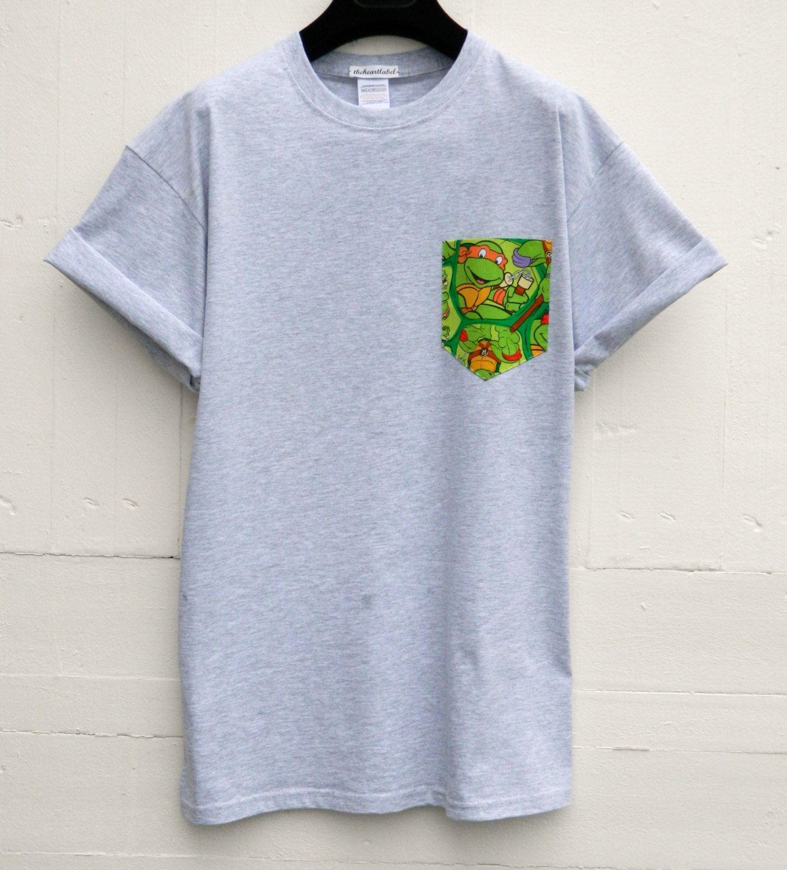 Men's Ninja Turtles Pattern, Grey Pocket T-Shirt, Men's T- Shirt ...