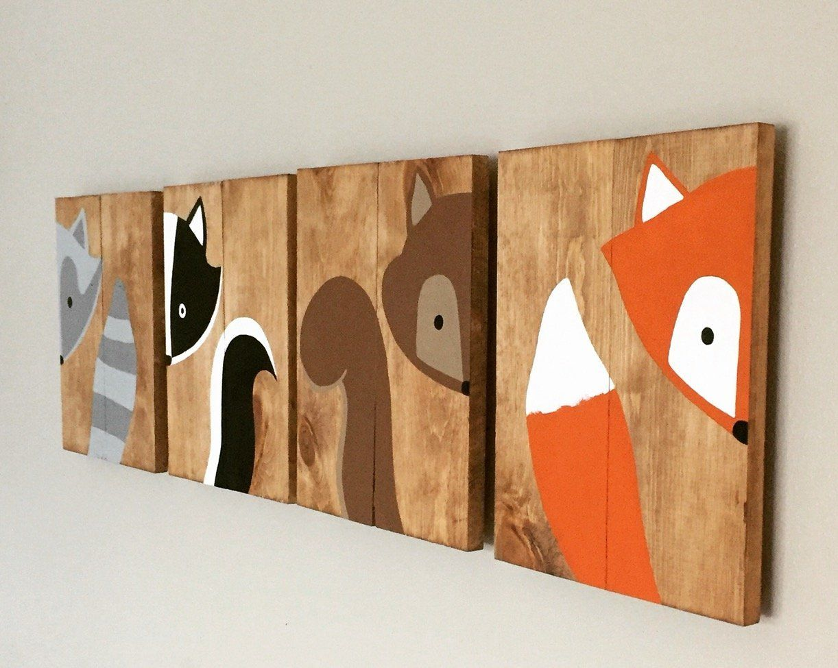 10x14 set of 4 woodland animal nursery signs nursery decor for Animal themed bathroom decor