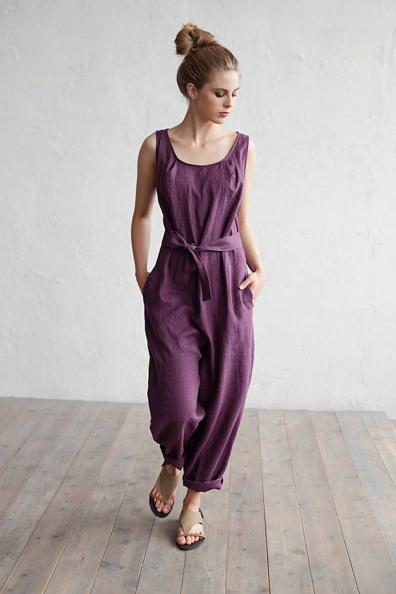 e1a452eb121c Hand crafted pure linen jumpsuit. This washed linen jumpsuit is available  in 15 different colours. It has a flattering tie at the waist and is  perfect for ...
