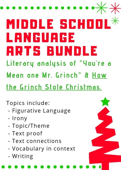 Middle School Grinch Bundle   Vocabulary in context, Text to text connections, Middle school