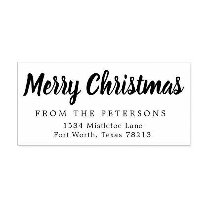 Script Merry Christmas Return Address Rubber Stamp Return address