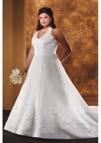 Satin V-neck Embroidery Beaded Halter Princess A-line Skirt With Lace Up Closure And Semi Cathedral Train Plus Size Wedding Gown
