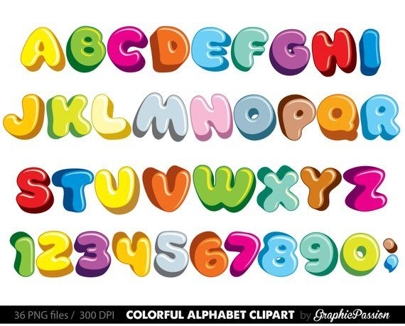 Fluffy Alphabet Clipart Color Alphabet Digital Alphabet Letters