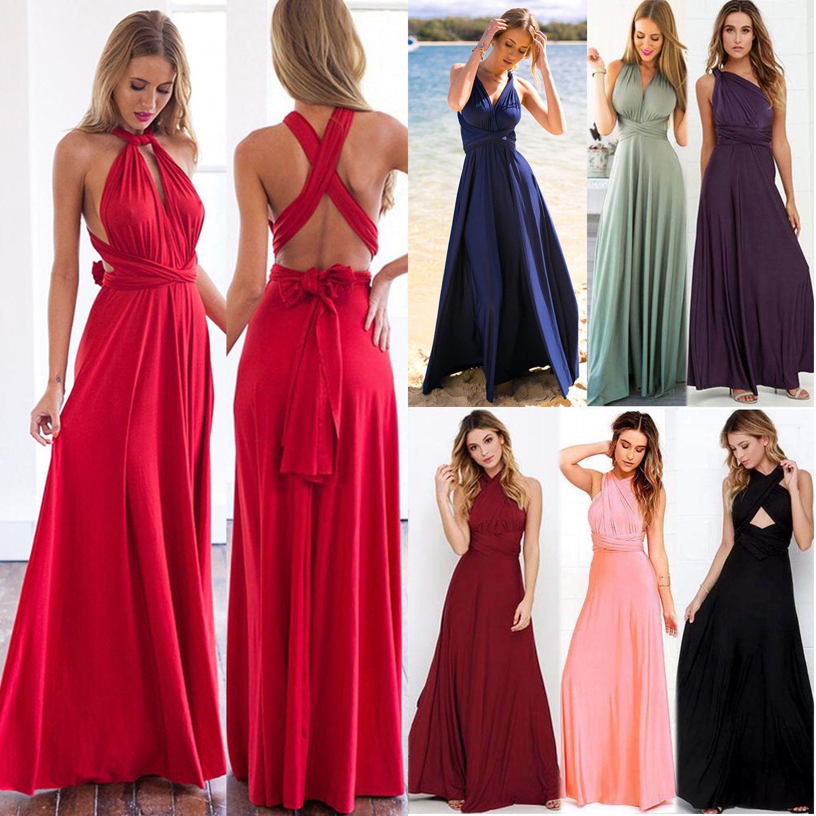 Damen Lang Maxikleid Abendkleid Kleid Hochzeitskleid Cocktail Ball