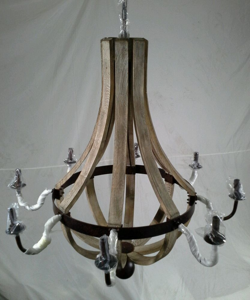 """WINE BARREL CHANDELIER 8 LAMP/LIGHT WOOD/IRON RUSTIC/CASTLE 38.5"""" XL EXTRA LARGE #FrenchCountry #RusticPrimitive"""