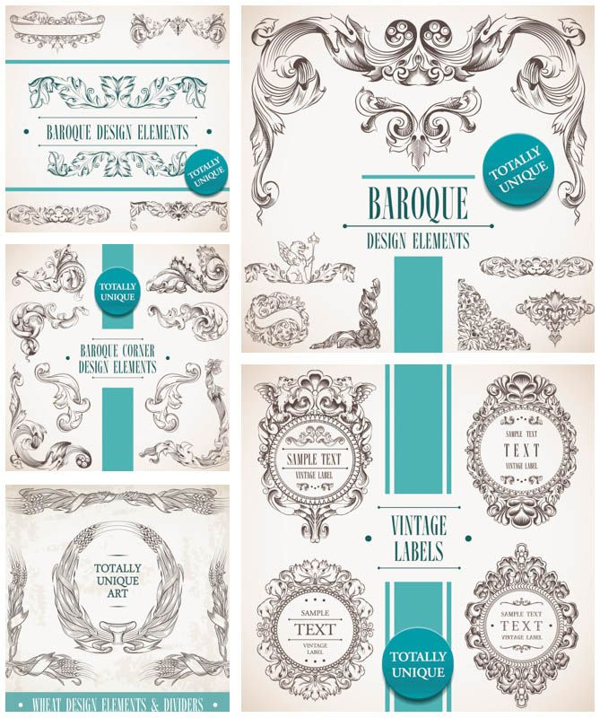 5 sets of vector baroque decorative elements in vintage style with 5 sets of vector vintage baroque frames and classic embellishment elements decorative borders floral frames vintage floral elements for your decorations stopboris Image collections