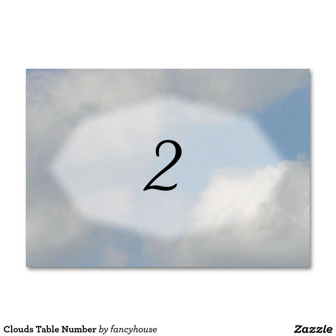 Clouds Table Number Card