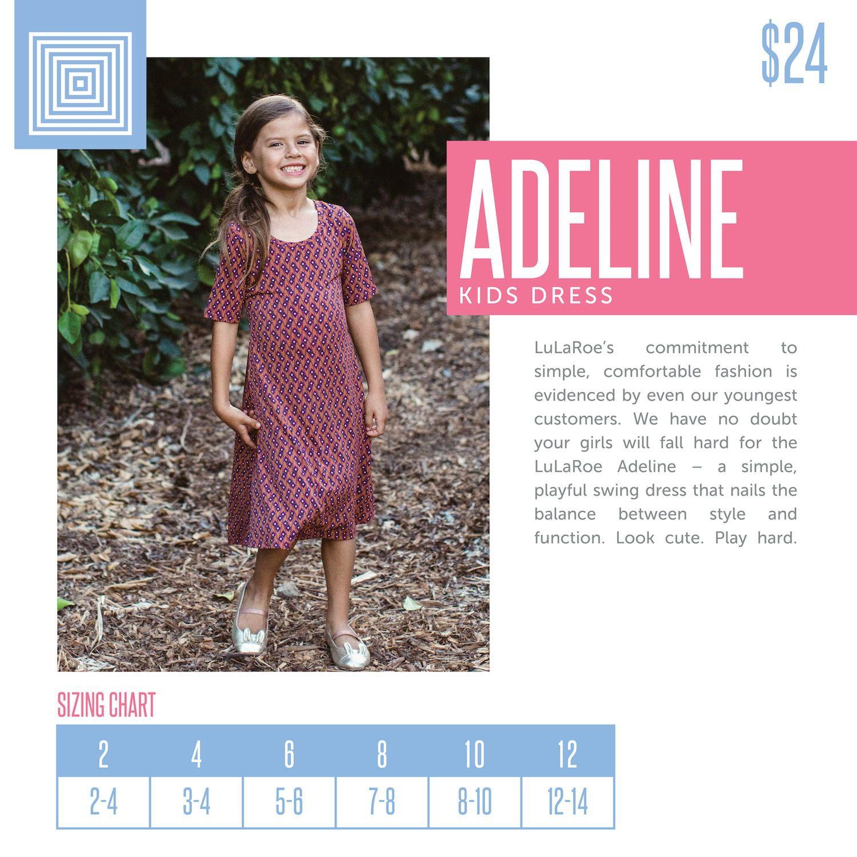 b5e615c2f5e38 Kids LuLaRoe Adeline Dress Size Chart including 2018 updated pricing.   lularoe  lularoeretailer