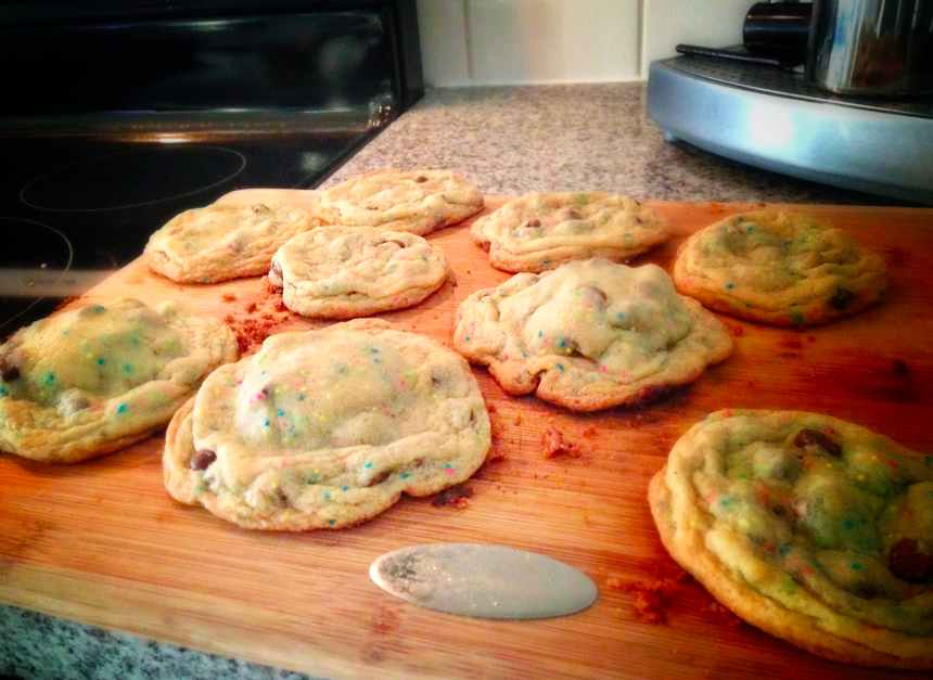 Oreo stuffed confetti chocolate chip cookies. Success!  http://veryculinary.com/2011/03/22/oreo-stuffed-chocolate-chip-cookies/