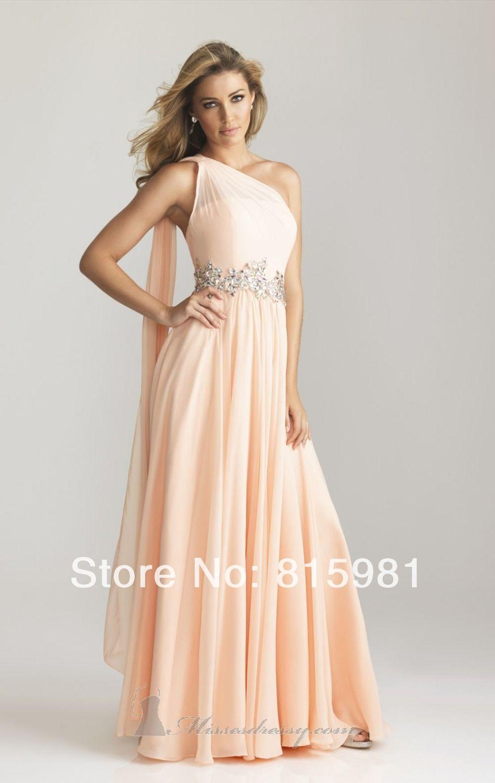 Wedding dress for evening  peach wedding dresses  PeachGrecianEmbellishedChiffonLong
