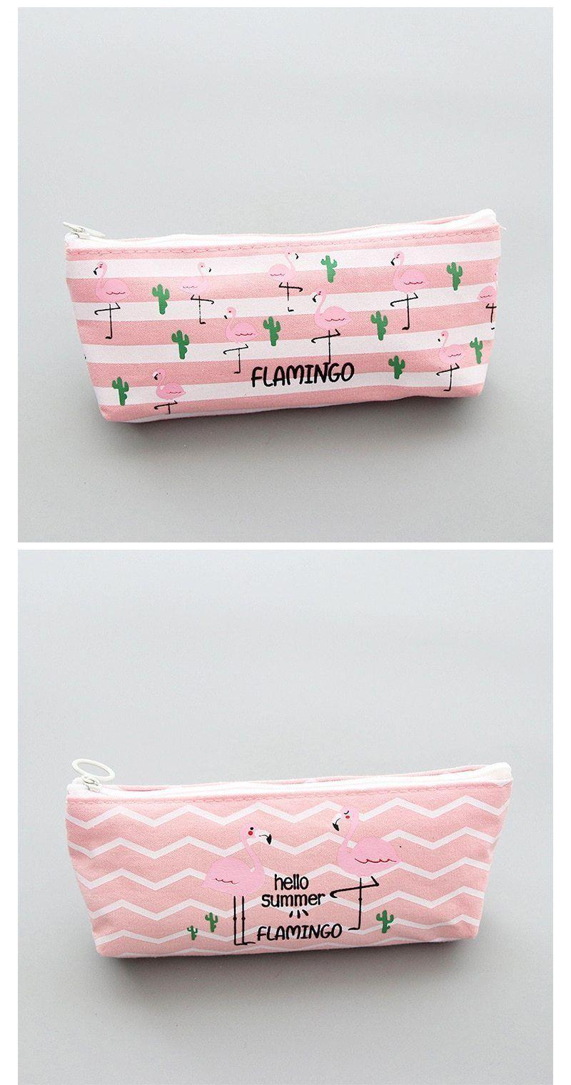Kawaii Pink Flamingos Pencil Case -