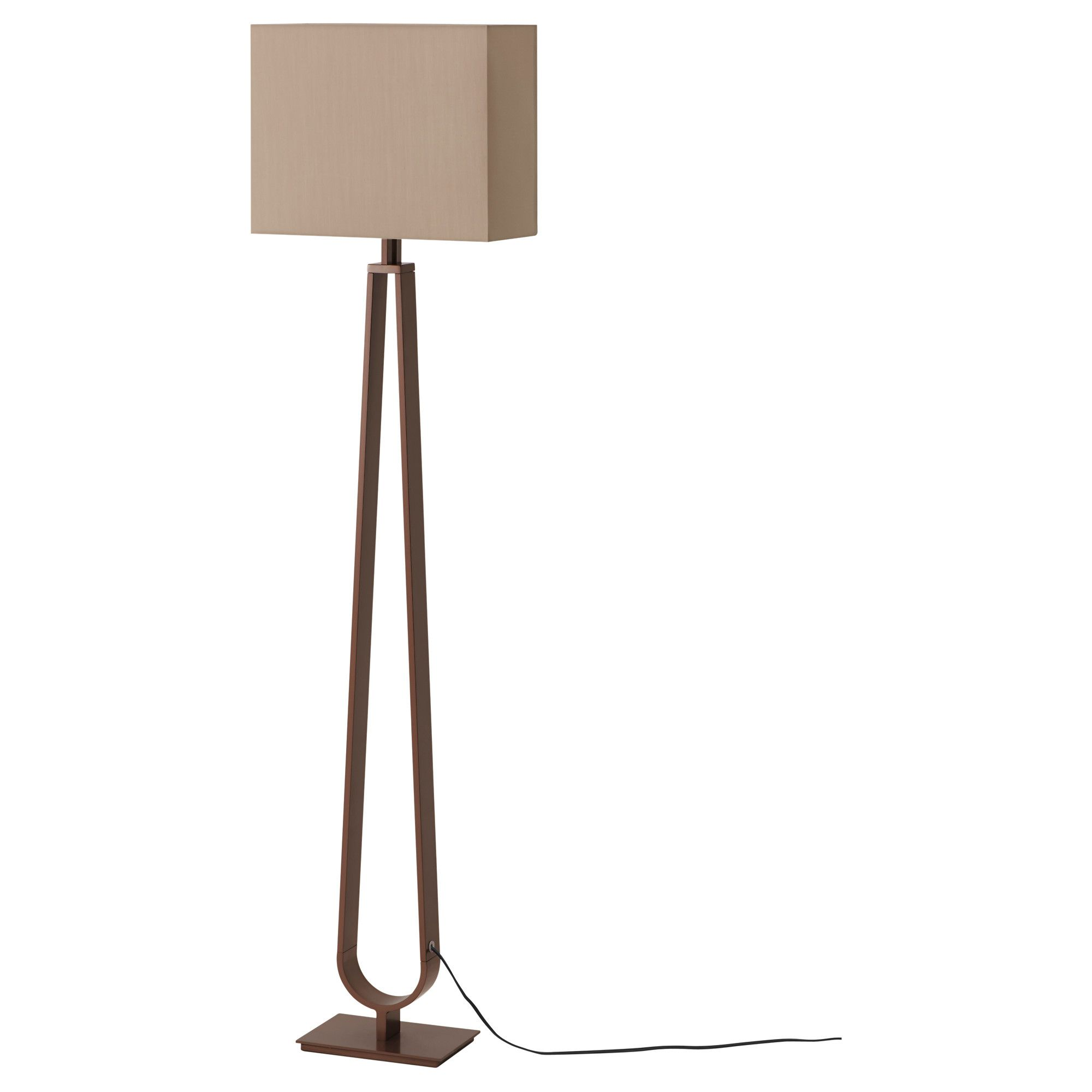 KLABB Floor lamp, light brown, bronze color