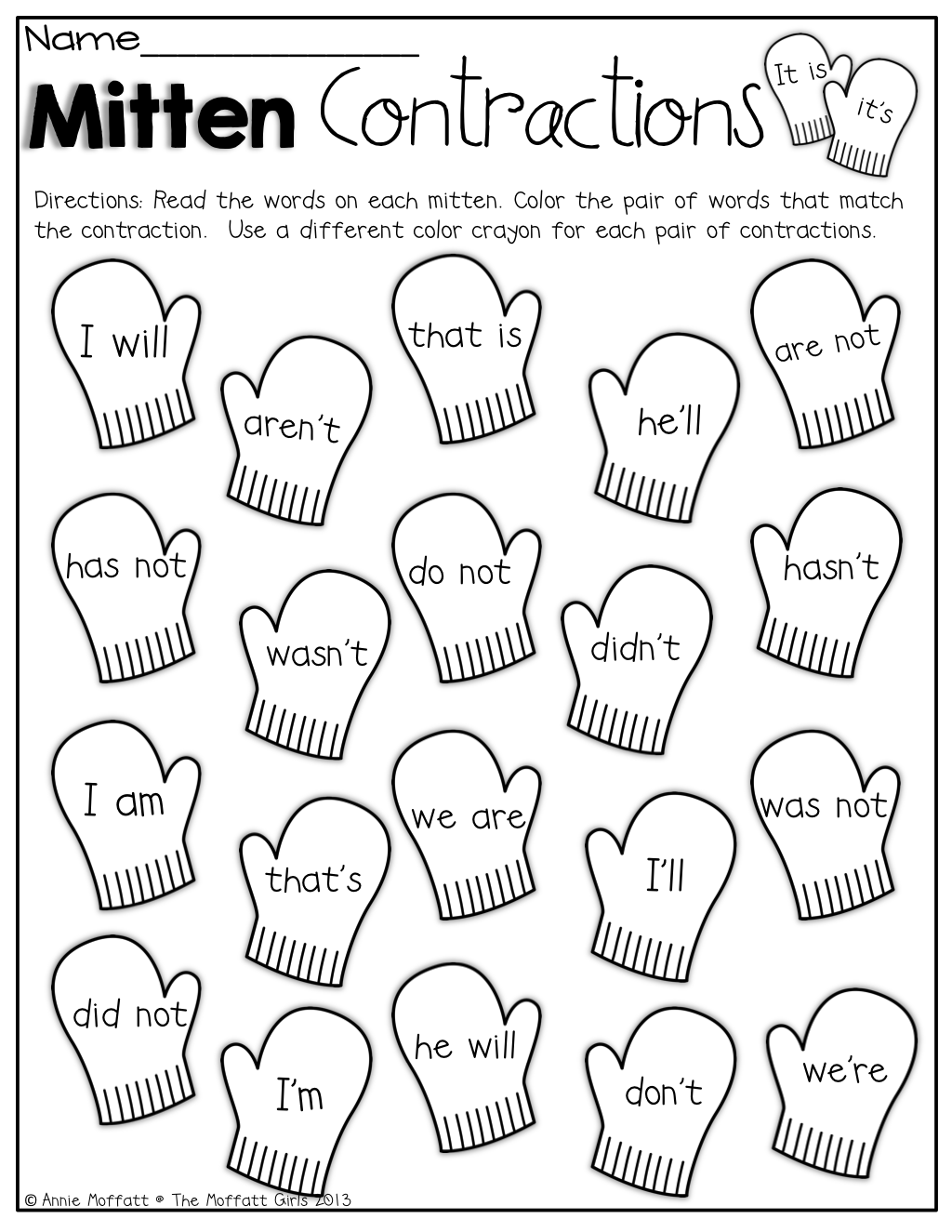 Worksheets Contraction Worksheets For First Grade mitten contractions color the mittens that match contraction contraction