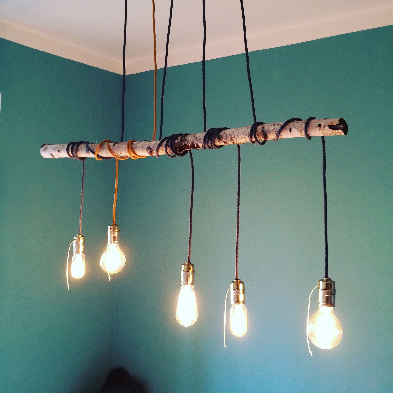 Esstischlampe Aus Buchenholz Ast Mit 5 Vintage Glühbirnen