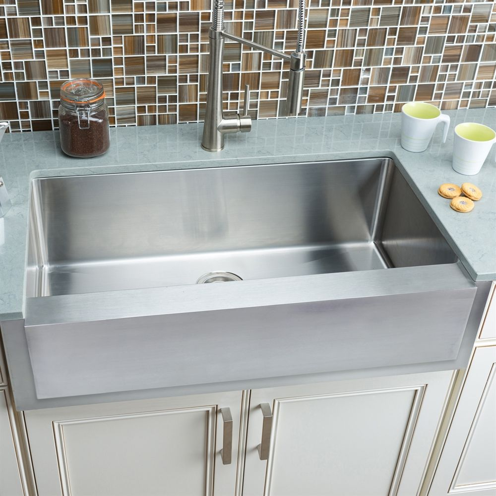 Hahn Fh006 Notched Farmhouse Single Bowl Stainless Steel Sink