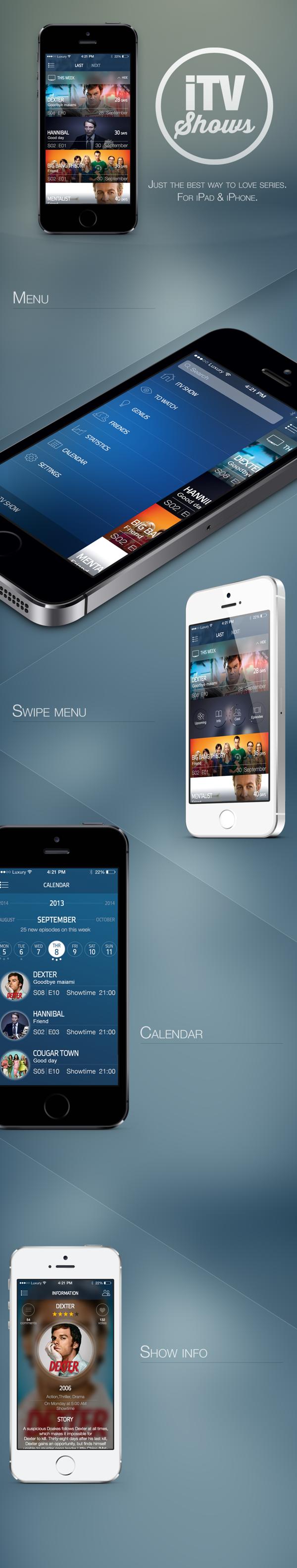 iTVShow App by Sergey Skidan, via Behance Mobile web
