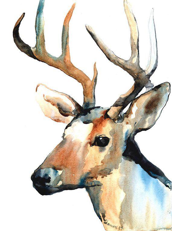 Reindeer watercolor digital print. Deer Home decor. Watercolour wall art for living room #framesandborders