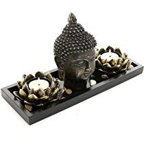 MyGift Buddha Head Sculpture Zen Garden Set w/ Lotus Tealight Candle Holders & Wooden Display Tray, Black