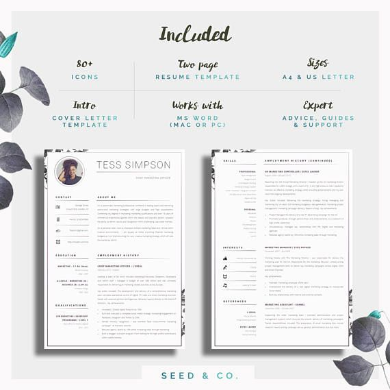CV Template Creative Resume Template Two Page Professional - Work - resume te