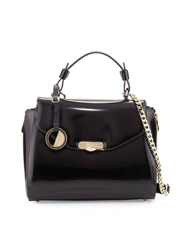 ddc8372bd6dc7 Versace Collection Patent Top-Handle Satchel Bag