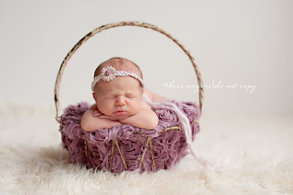 Good use of textured blanket cute basket · birth photographybabies