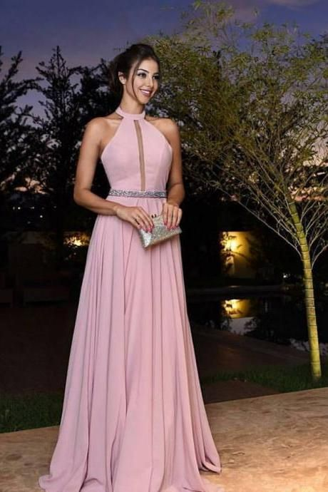 Halter Long Prom Dress, Formal Beaded Evening Dress,Custom Made ...