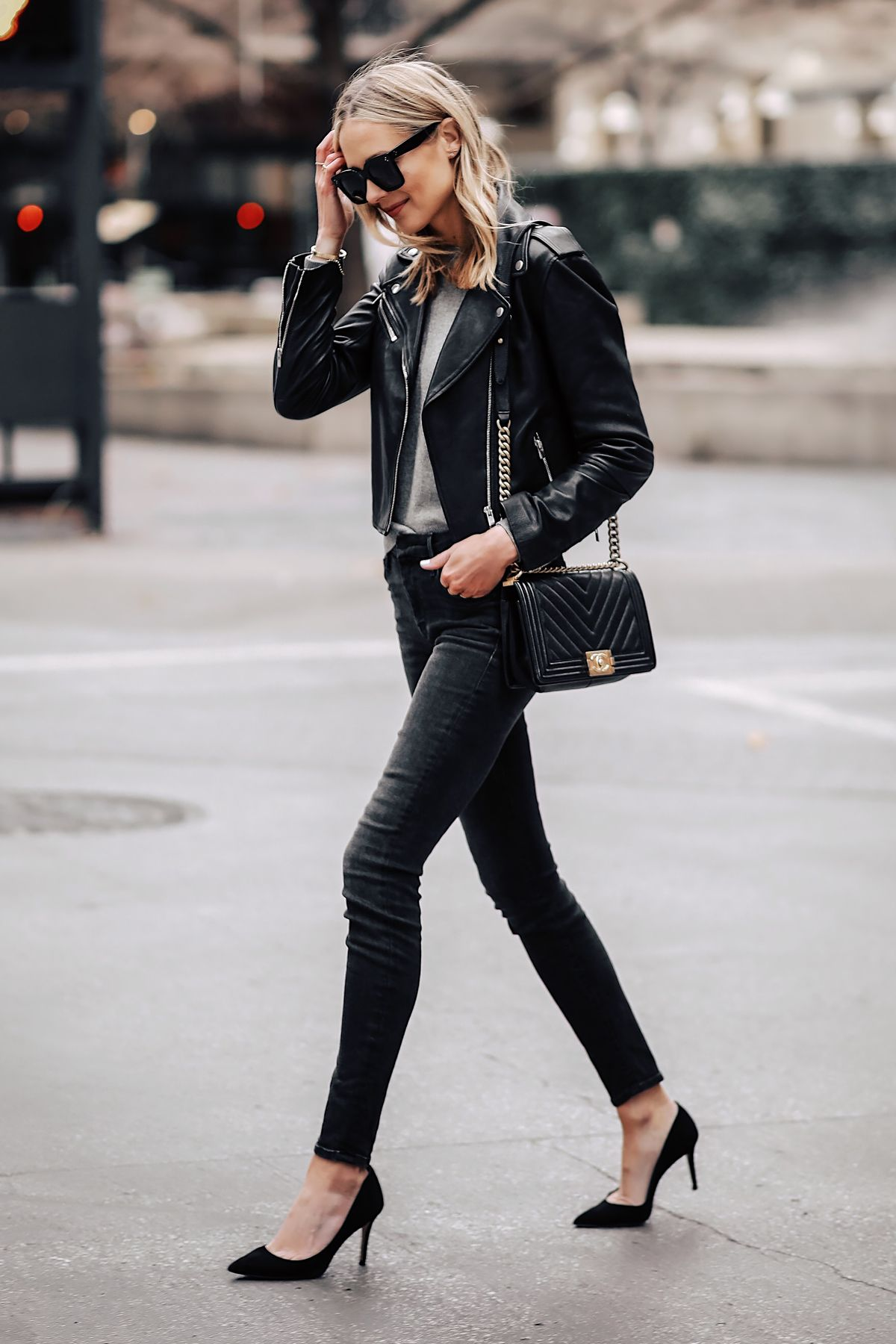 0d15925926 Blonde Woman Wearing Club Monaco Black Leather Jacket Grey Sweater Black  Skinny Jeans Black Pumps Fashion