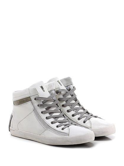 Crime - Sneakers - Uomo - Sneaker in pelle vintage e camoscio con zip su lato interno e suola in gomma vintage. Tacco 25. - WHITE\TAUPE - € 139.00