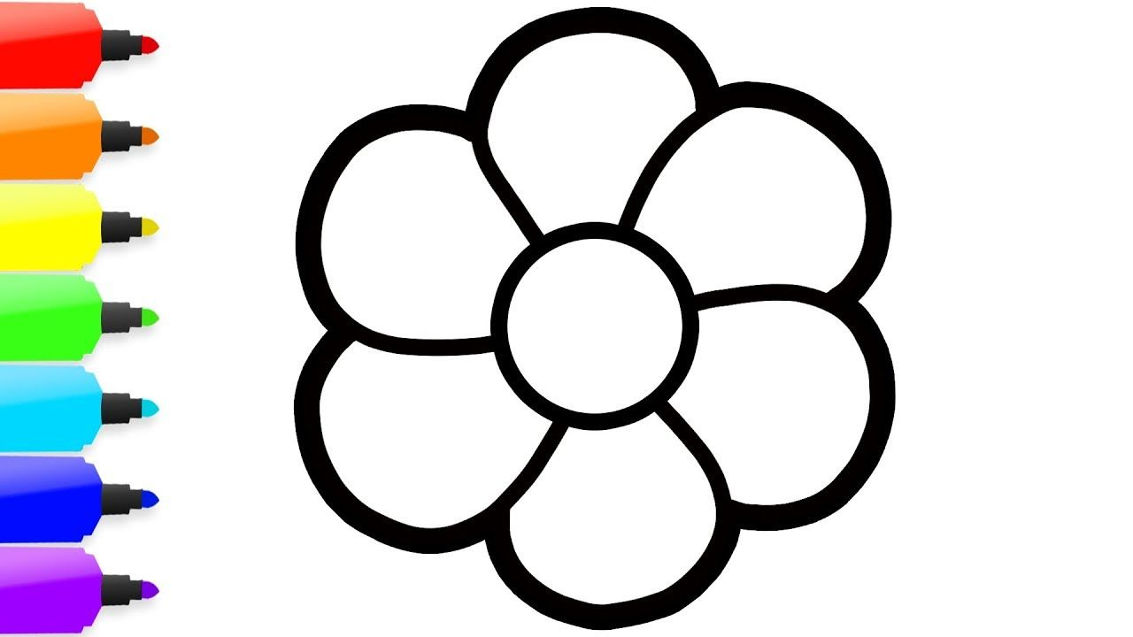 Drawing 8 Flowers Simple Coloring For
